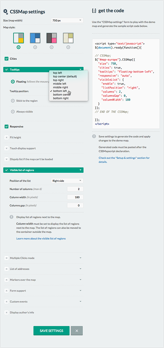 CSSMap - options generator