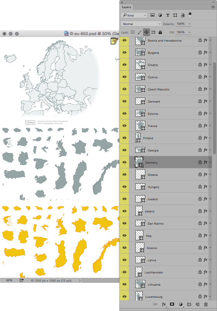 CSSMap - .PSD source file layers